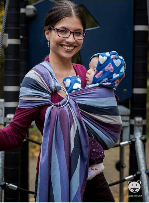 Chusta do noszenia dzieci LAVENDER EVENING (paski) - 100% Bawełna, chusta kółkowa, rozmiar: 2,1  m, splot skośno-krzyżowy