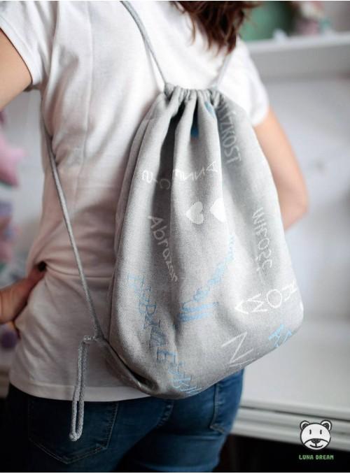 Plecak/Torba - WORDS OF LOVE (niebieski) 100% Bawełna, rozmiar 31cm x 43cm