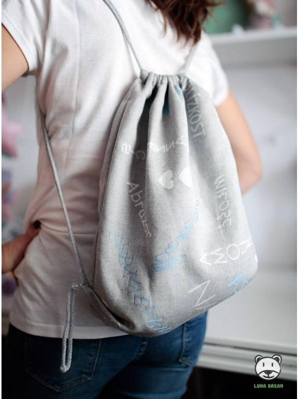 SACKPACK FOR WRAP - WORDS OF LOVE (blue) 100% Cotton, size 31cm x 43cm