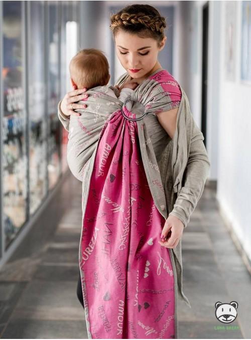 WORDS OF LOVE RING (pink) - 100% Baumwolle, Ring Slings 2,1 m, Jacquard