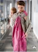 WORDS OF LOVE RING (różowa) - 100% Bawełna, chusta kółkowa, rozmiar: 2,1 m, splot żakardowy