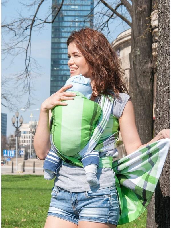 Chusta do noszenia dzieci GREEN SPRING (krata) - 100% Bawełna, splot skośno-krzyżowy