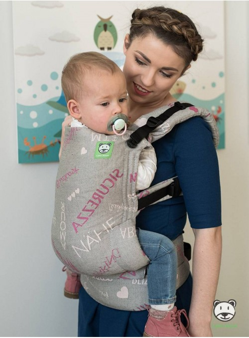 Baby carrier Words of Love  (pink) - 100% cotton, jacquard, size Baby / Standard