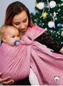 Chusta do noszenia dzieci LITTLE HEARTS RING (różowa) - 100% Bawełna, chusta kółkowa, rozmiar: 2,1 m, splot żakardowy