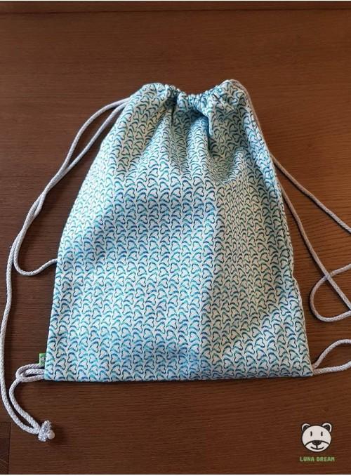 SACKPACK FOR WRAP - LITTLE HEARTS (blue) 100% Cotton, size 31cm x 43cm