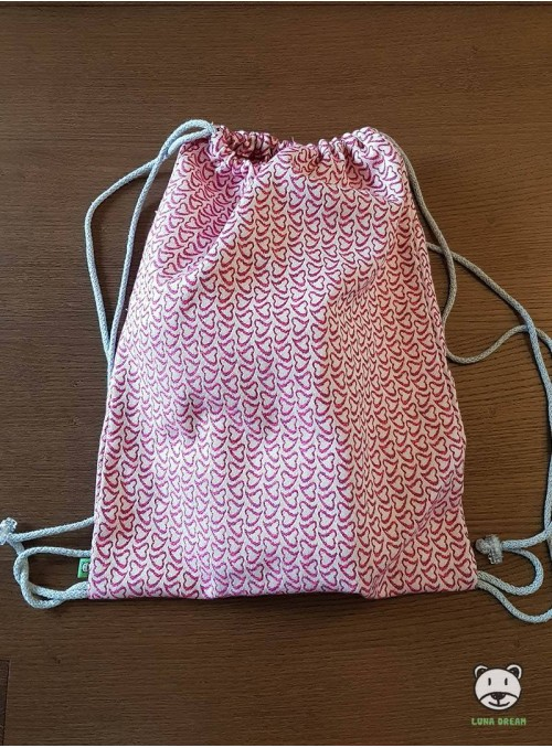 SACKPACK FOR WRAP - LITTLE HEARTS (pink) 100% Cotton, size 31cm x 43cm