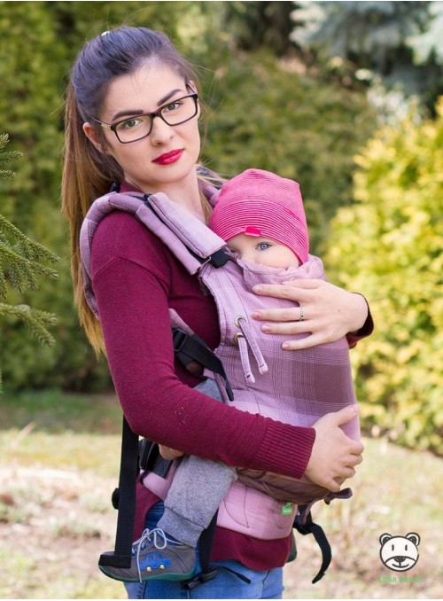 Adjustable Baby Carrier Multi Size:: Ombre (grid), 100% cotton, weave cross twill
