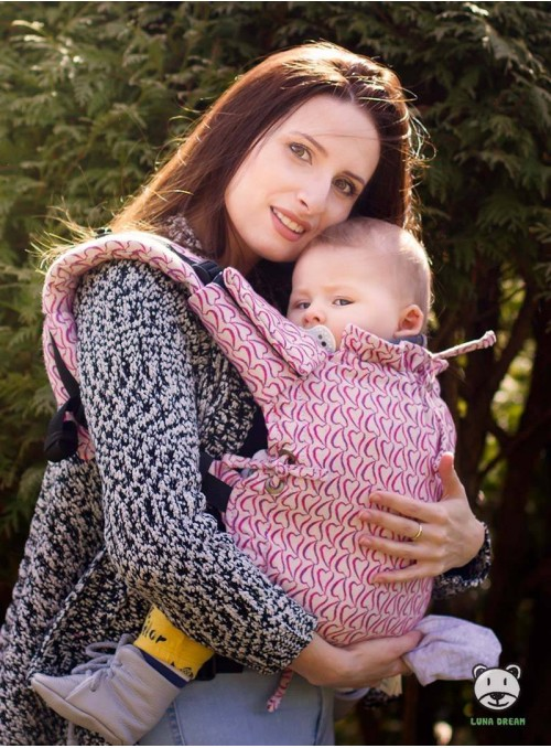 Adjustable Baby Carrier Multi Size: Little Hearts Pink, 100% cotton, jacquard