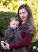 Chusta do noszenia dzieci LITTLE HEARTS RING (brązowe) - 80% Bawełna, 20% Len, chusta kółkowa, rozmiar: 2,1 m, splot żakardowy