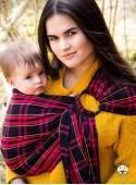 Chusta do noszenia dzieci CHERRY TARTAN RING (krata) - 100% Bawełna, chusta kółkowa, rozmiar: 2,1 m, splot skośno-krzyżowy