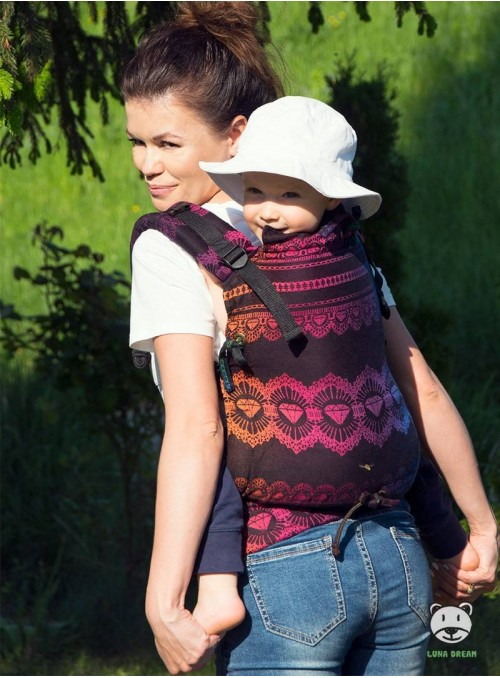 Adjustable Baby Carrier Multi Size:  Diamond Lace Rainbow Chic, 100% cotton, jacquard