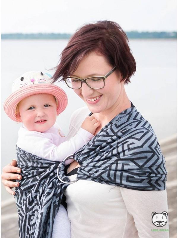 Chusta do noszenia dzieci MAZE RING (szara) - 100% Bawełna, chusta kółkowa, rozmiar: 2,1 m, splot żakardowy