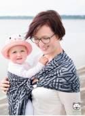 Chusta do noszenia dzieci MAZE BASIC RING (szara) - 100% Bawełna, chusta kółkowa, rozmiar: 2,1 m, splot żakardowy