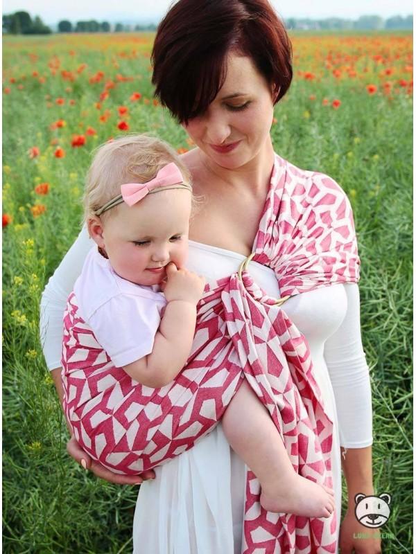 Chusta do noszenia dzieci MITSU RING (czerwona) - 100% Bawełna, chusta kółkowa, rozmiar: 2,1 m, splot żakardowy