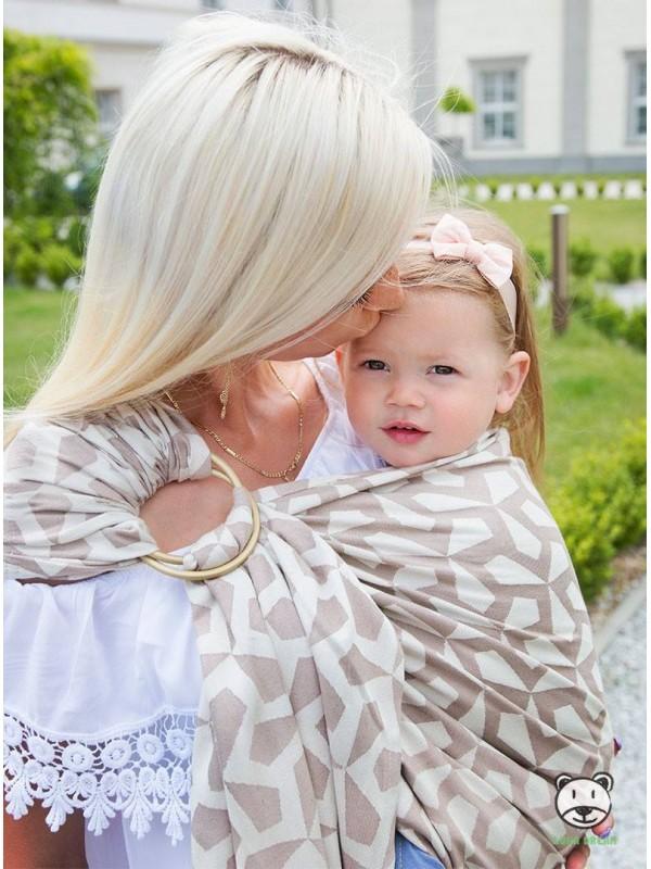 Chusta do noszenia dzieci MITSU RING (ecru) - 100% Bawełna, chusta kółkowa, rozmiar: 2,1 m, splot żakardowy