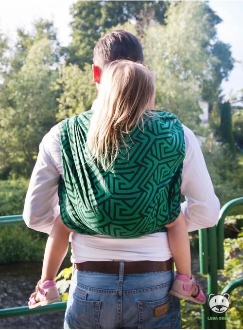 Chusta do noszenia dzieci MAZE BASIC (zielona) - 100% Bawełna, splot żakardowy