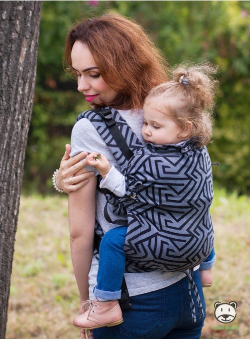Adjustable Baby Carrier Multi Size: Mitsu Black, 100% cotton, jacquard