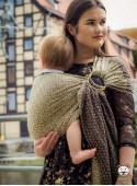 Chusta do noszenia dzieci LITTLE HEARTS RING (gold) - 95% Bawełna, 5% Lurex, chusta kółkowa, rozmiar: 2,1 m, splot żakardowy