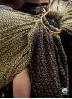 LITTLE HEARTS RING (gold) - 95% Bawełna, 5% Lurex, chusta kółkowa, rozmiar: 2,1 m, splot żakardowy