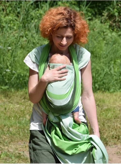 Chusta do noszenia dzieci GREEN SPRING (paski) - 100% Bawełna, splot skośno-krzyżowy
