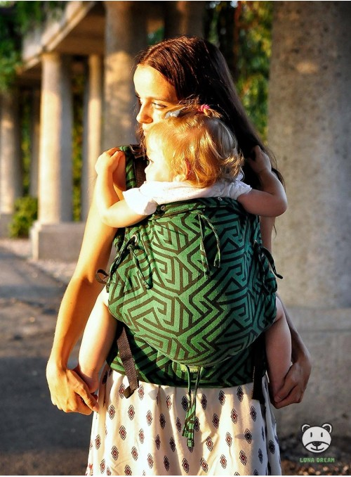 Adjustable Baby Carrier Multi Size: Maze green, 100% cotton, jacquard