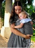 Chusta do noszenia dzieci LITTLE HEARTS RING (silver) - 95% Bawełna, 5% Lurex, chusta kółkowa, rozmiar: 2,1 m, splot żakardowy