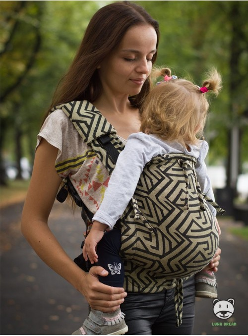Adjustable Baby Carrier Multi Size: Maze gold, 100% cotton, jacquard