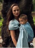 Chusta do noszenia dzieci LITTLE HEARTS RING (niebieska) - 100% Bawełna, chusta kółkowa, rozmiar: 2,1 m, splot żakardowy