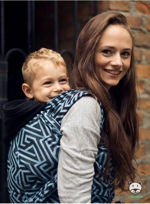 Chusta do noszenia dzieci MAZE BASIC (niebieska) - 100% Bawełna, splot żakardowy