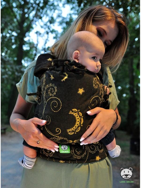 Nosidełko regulowane Multi Size: Black and Gold, 100% bawełna, splot żakardowy