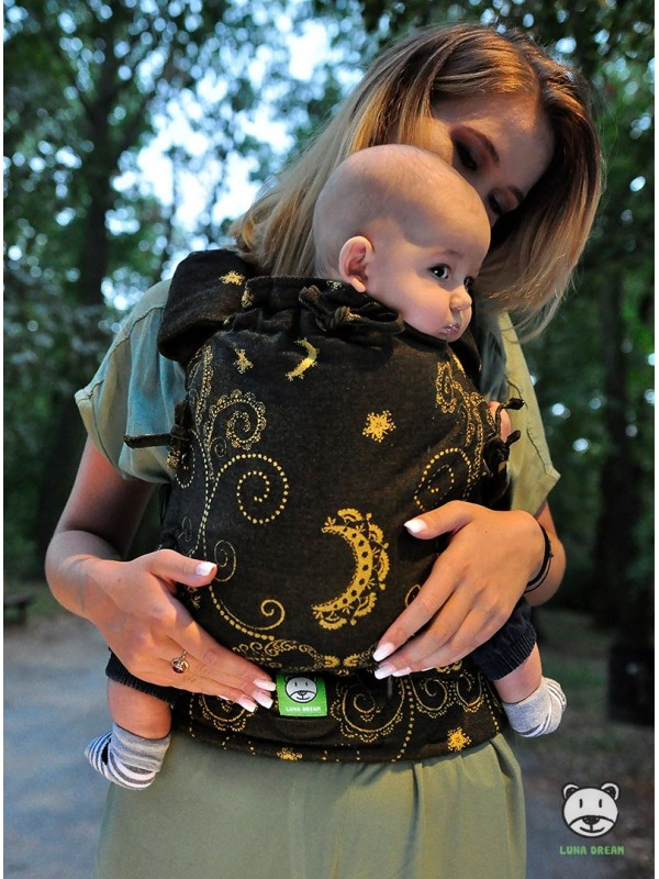 Adjustable Baby Carrier Multi Size: Black and Gold, 100% cotton, jacquard