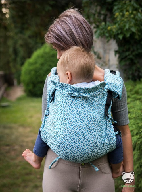 Adjustable Baby Carrier Multi Size:  Little Hearts blue, 100% cotton, jacquard
