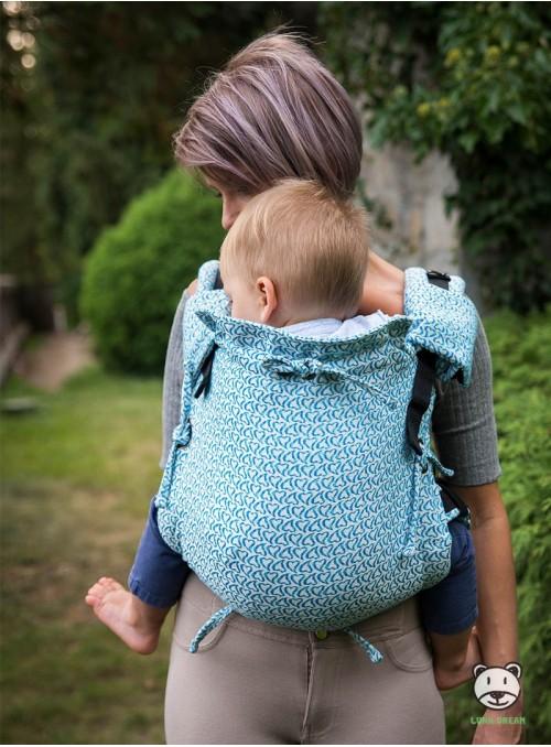 Nosidełko regulowane Multi Size: Little Hearts niebieskie - 100% bawełna, splot żakardkowy