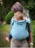 Nosidełko regulowane Multi Size: Little Hearts blue niebieskie - 100% bawełna, splot żakardkowy