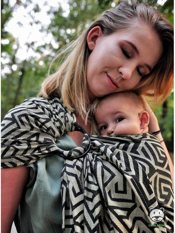 Chusta do noszenia dzieci MAZE BASIC RING (złota) - 100% Bawełna, chusta kółkowa, rozmiar: 2,1 m, splot żakardowy
