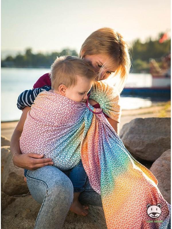 Chusta do noszenia dzieci LITTLE HEARTS RAINBOW RING - 100% Bawełna, splot żakardowy