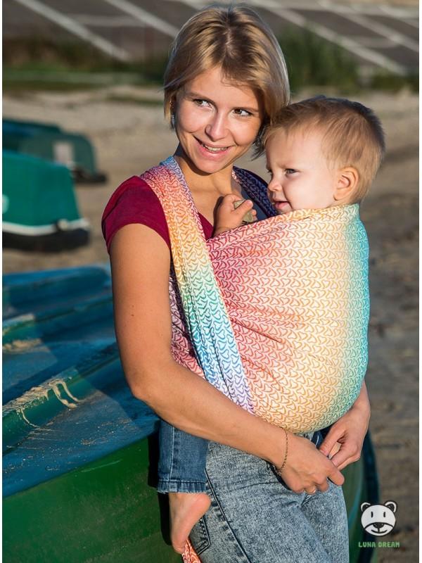 Chusta do noszenia dzieci LITTLE HEARTS RAINBOW - 100% Bawełna, splot żakardowy