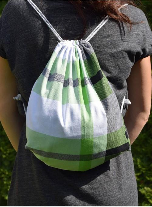 Plecak/Torba - Green Spring (krata) 100% bawełna, rozmiar 31cm x 43cm