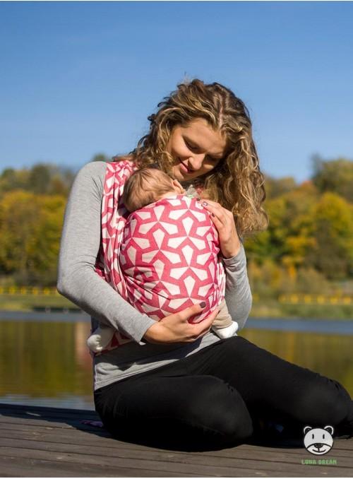 Chusta do noszenia dzieci MITSU (czerwona)- 100% Bawełna, splot żakardowy
