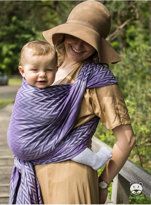 Chusta do noszenia dzieci Herringbone Purple - 100% Bawełna, splot żakardowy