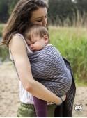 Chusta do noszenia dzieci HERRINGBONE GREY RING - 100% Bawełna, chusta kółkowa, rozmiar: 2,1 m, splot żakardowy