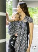 Chusta do noszenia dzieci HERRINGBONE MONO RING (dark blue) - 75% Bawełna 25% Bambus, chusta kółkowa, splot żakardowy