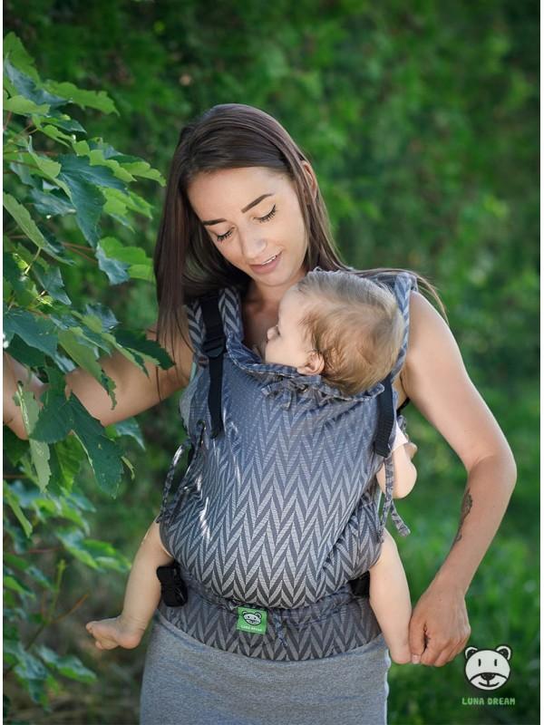 Adjustable Baby Carrier Multi Size: Herringbone grey, 100% cotton, jacquard