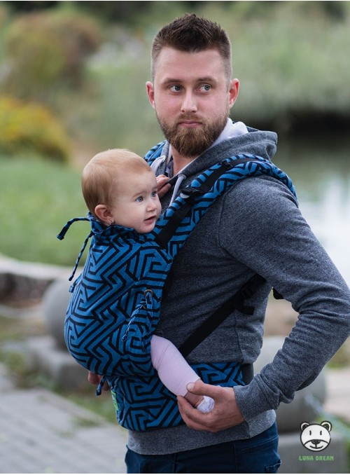 Adjustable Baby Carrier Multi Size: Maze blue, 100% cotton, jacquard