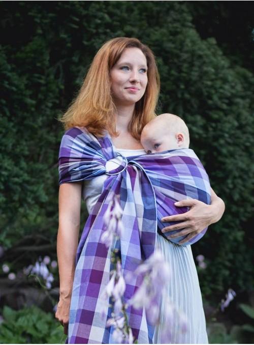 Chusta do noszenia dzieci LAVENDER EVENING RING (kratka) - 100% Bawełna, chusta kółkowa, rozmiar: 2,1 m, splot skośno-krzyżowy