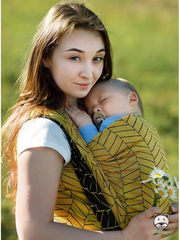 Chusta do noszenia dzieci BIG HERRINGBONE YELLOW - 100% Bawełna, splot żakardowy