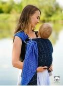 Chusta do noszenia dzieci BIG HERRINGBONE BLUE RING - 100% Bawełna, chusta kółkowa, rozmiar: 2,1 m, splot żakardowy