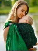 Chusta do noszenia dzieci BIG HERRINGBONE GREEN RING - 100% Bawełna, chusta kółkowa, rozmiar: 2,1 m, splot żakardowy