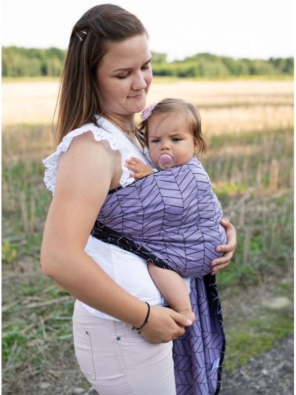 Chusta do noszenia dzieci BIG HERRINGBONE FIOLET RING - 100% Bawełna, chusta kółkowa, rozmiar: 2,1 m, splot żakardowy