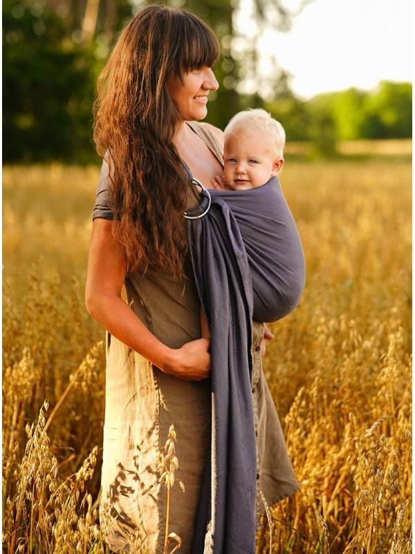 Chusta do noszenia dzieci TALISMAN GRAPHITE UNICOLOR RING 2,1 m - 60% Bawełna 40% Bambus, splot żakardkowy